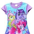 Meninas do bebê Verão Camiseta T-Shirt Da Menina Bonito My Little Pony Crianças Cotton Tee Tops 2017 New Arrival 30D