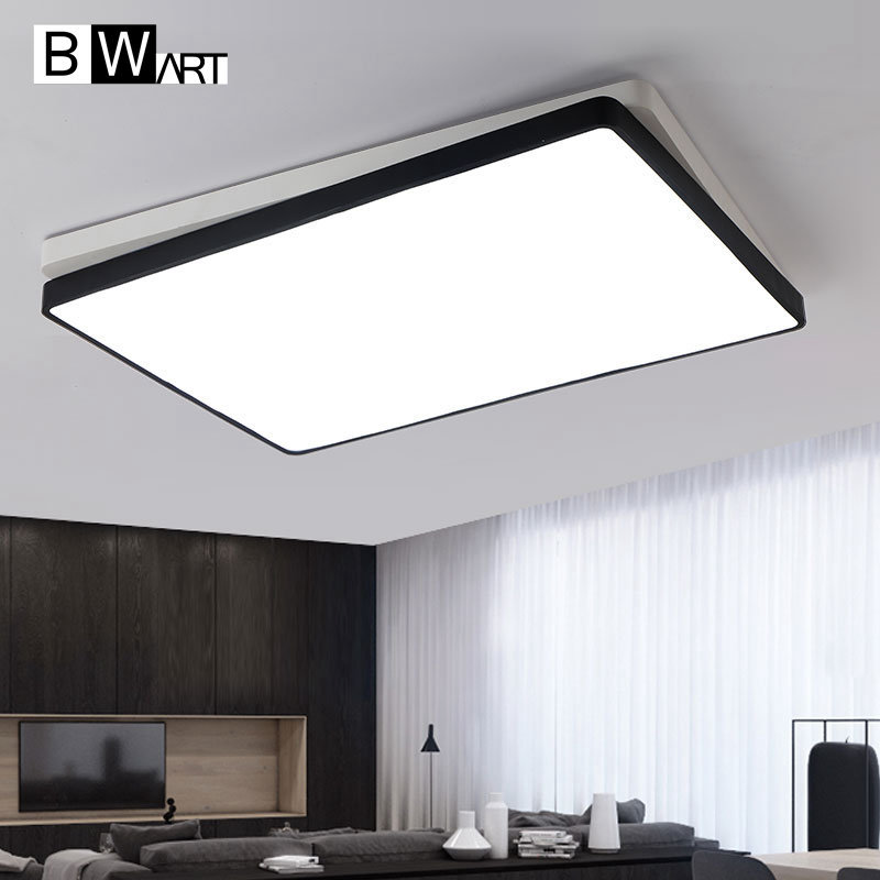 купить Black White rectangle Modern LED Ceiling light Creative modern led ceiling lamp fixture for living room bed room studio lighting по цене 3204.04 рублей