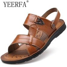 YIERFA High quality Summer style Beach Sandals Men Shoes, 2017 New Arrival Leather Casual Sandals Two modes big size 35-47