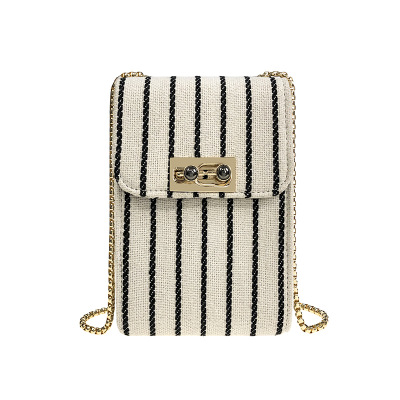 Striped Womens Shoulder Bags Metal Chains Flap Pocket Crossbody  Canvas Bags Different Colors Message BagStriped Womens Shoulder Bags Metal Chains Flap Pocket Crossbody  Canvas Bags Different Colors Message Bag