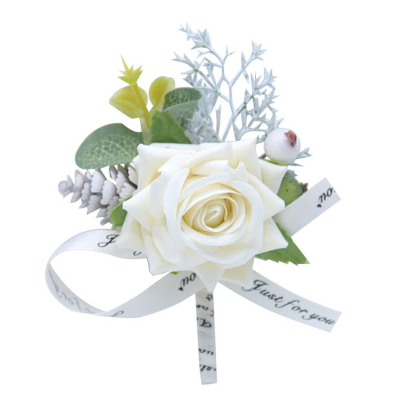 Men Corsage Groom Brooch Flowers Boutonniere Pin Bridal Corsages Bridesmaid Wedding Flower Accessories