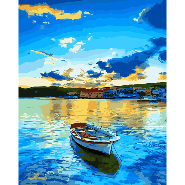 With DIY frame,blue Lake & boat ,Modular pictures, picture by numbers,poster, coloring by numbers,canvas painting,wall art RS166
