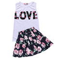 Retail 2016 New Casual Kids Girls Clothing Set Sleeveless T-Shirt Top and Floral Skirt Cute Baby Girls Clothes Girls Outfit