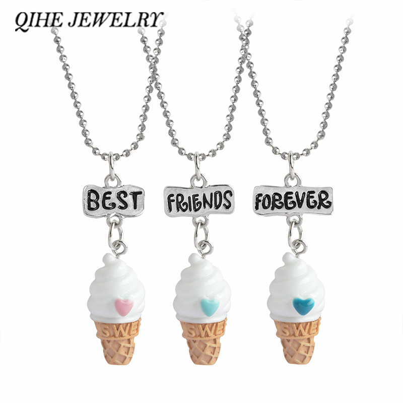 US $1.67 47% OFF QIHE JEWELRY 3pcset Best Friends Forever 3 Color Ice cream Pendant Beads Chain Necklace Mini kawaii Girls Jewelry in Pendant