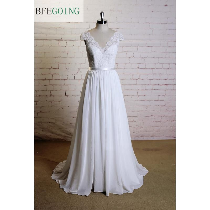White  Lace Chiffon  Floor-Length  V-Neck A-line Wedding Dress Court Train  Cap Sleeves Real/Original Photos Custom Made