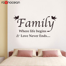 Family Wall Quote Sticker Where Life Begins & Love Never Ends Decal Vinyl Interior Home Decoration Bird Mural Self Adhesive 3Q28