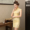 Chinese Traditional Dress Summer Style Fashion Vintage Cheongsam Qipao Elegant Yellow Short Printed Party Dress Women Clothing