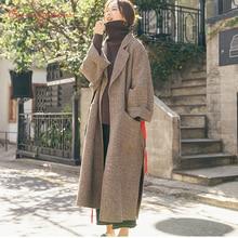 2018 Autumn Women's Wool Coat New Fashion Long 100% Woolen Coat Belt Slim Type Female Autumn Winter Wool Coat elegant vintage