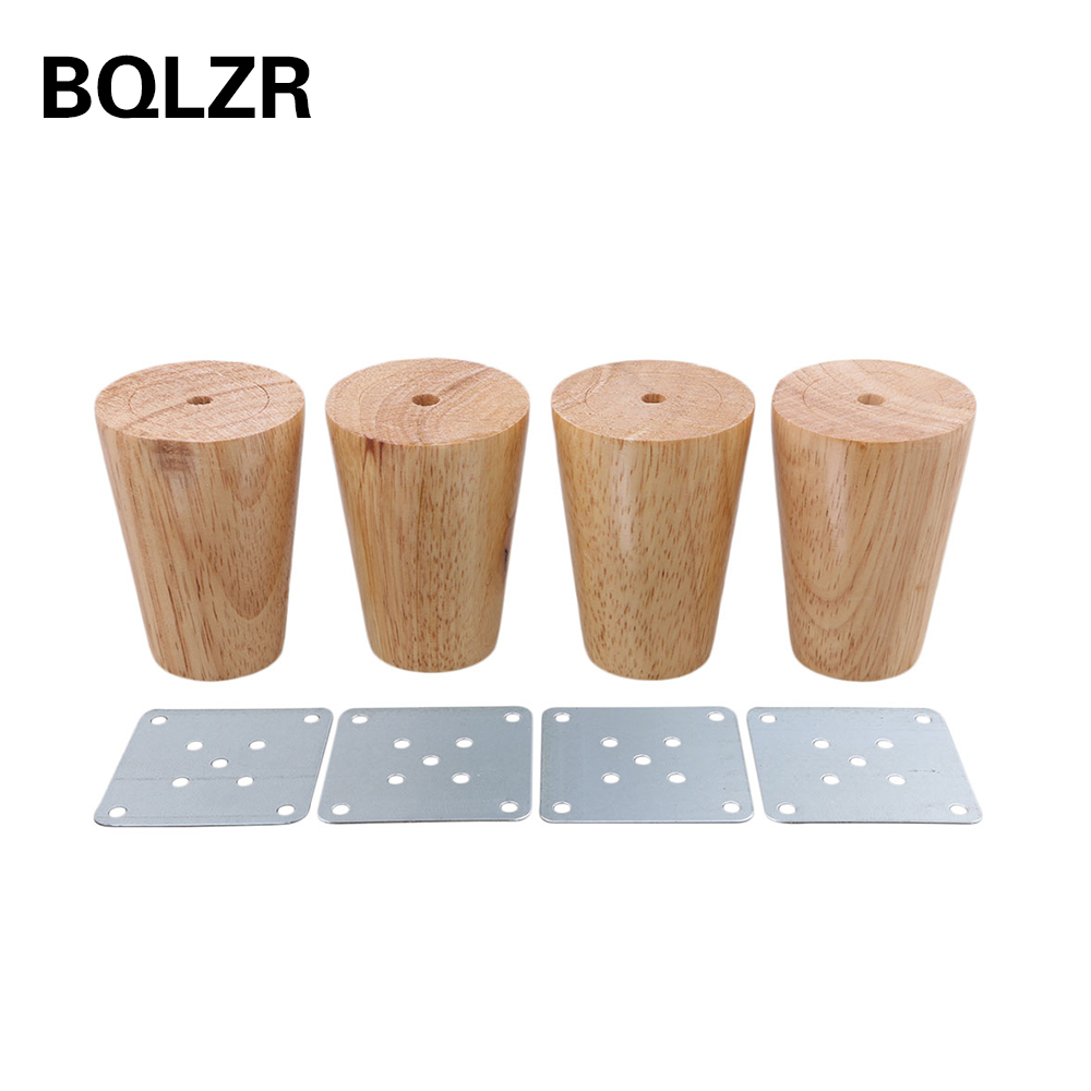 BQLZR 80x58x38mm Cone Wooden Material Sofa Chair Bed Cupboard Tea Table TV Cabinet Wooden Furniture Replacement Legs Pack of 4 bqlzr 150x63mm square shape silver black adjustable stainless steel plastic furniture legs sofa bed cupboard cabinet table bench
