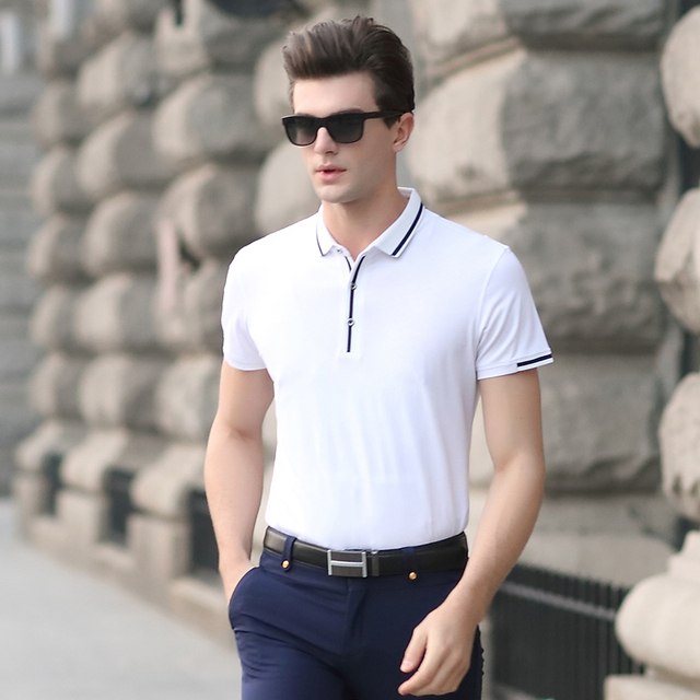 High super quality classic solid color summer men's business casual cotton polo shirt