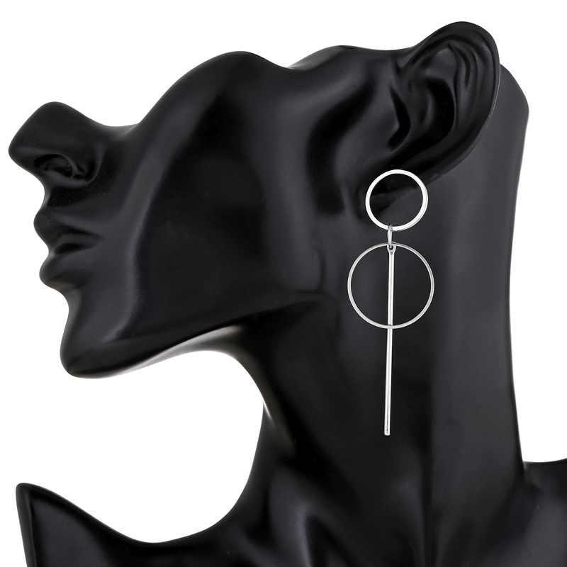 CXW hợp kim Mới Punk đôi khuyên tai vòng cho nữ đơn giản vàng/bạc/Dài Tua Rua Mặt dây chuyền tròn Kích thước nữ Tặng bán buôn H09