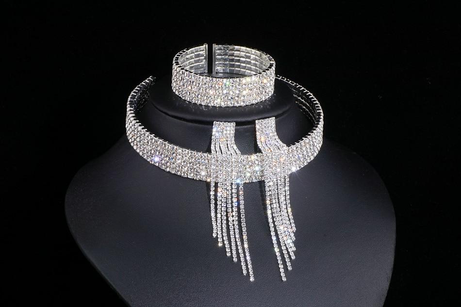 IMG_4805 - Classique, élégant Gland Cristal, Collier De Mariage, Boucles D'oreilles,