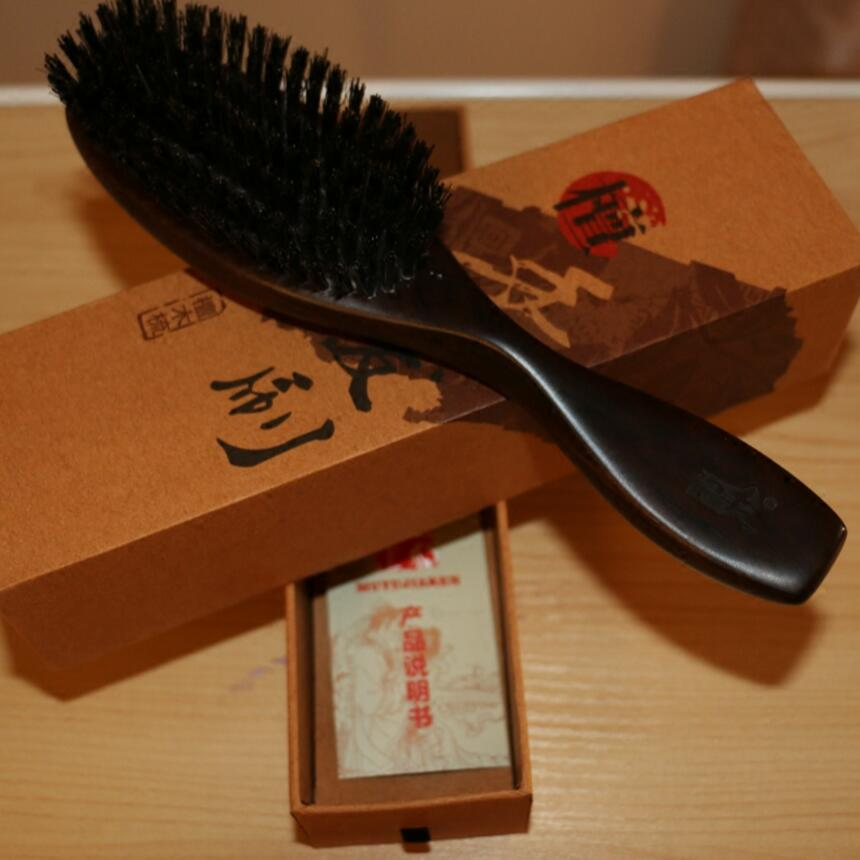NEW Boar Bristles Hair Brush anti static Comb Black Sandalwood Handle Brosse Hair Care Styling Tools G0311