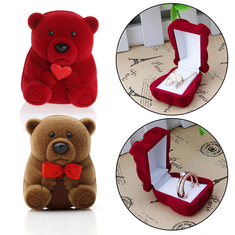 Mini Cute Bear Jewllery Gift Boxes for Rings and Small Earrings Pendant Necklace