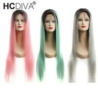 Омбре человеческих волос парики предварительно сорвал с волосами младенца 1B/613 1B/розовый 1B/серый 1B/Зеленый полный парик шнурка 150% Remy бразиль