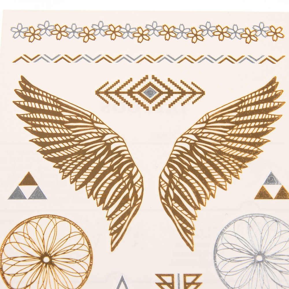 1 PC Abnehmbare Temporäre Gold Silber Blatt Blume Tattoos Metallic Sex Produkte Schmuck Henna Tatouage Körper Kunst Tatto Aufkleber