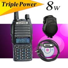 Baofeng uv82 8w version UV-82HX High power Radio,Double PTT hand walkie talkie sister yaesu ft-60r+mic-speaker+cable+earpiece