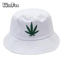 Winfox New Fashion Summer Black White Leaf Hip Hop Bucket Hat Boonie For Mens