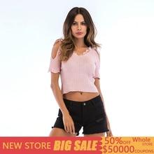 Casual Short Pink V Neck Backless Tshirt Women Short Sleeve Shoulder Strap Women T Shirt Top Solid Knitted Sexy Summer Tee Femme