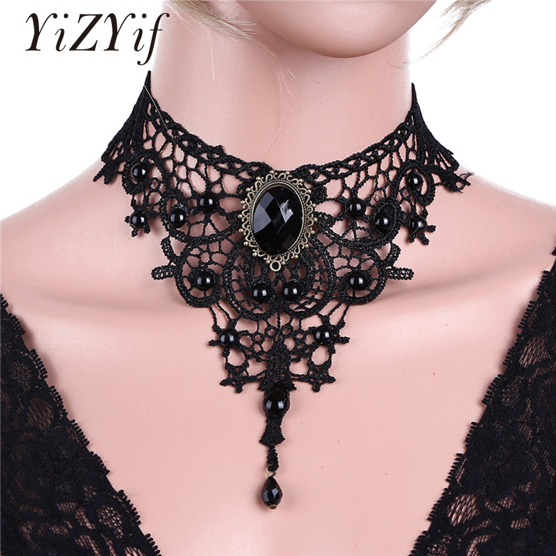 YiZYiF Women Elegant Princess Lace Gothic Choker Vintage Chain Flower Rhinestone Beads Pendant Choker Necklace Wedding Party