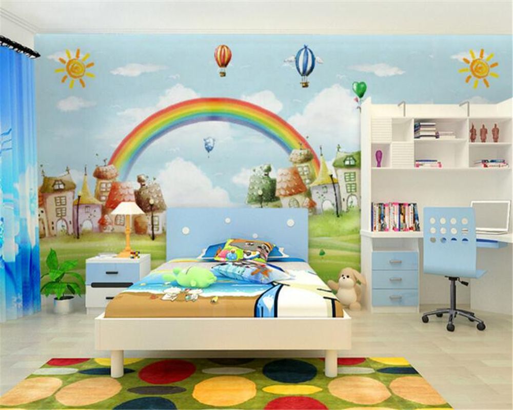 Beibehang custom wallpaper mediterranean style cartoon tv for Rainbow kids room