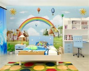 Beibehang Custom Wallpaper Mediterranean Style Cartoon TV Backdrop Kids Room Rainbow Background Mural wallpaper for walls 3 d