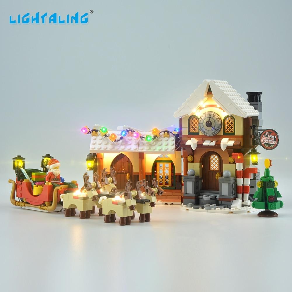 Lightaling LED Light Kit Compatible with Famous Brand 10245 Building Blocks Bricks Santa Claus Studio Toys USB Charge shock your friend shocking santa claus dummy lighter with led light practical joke