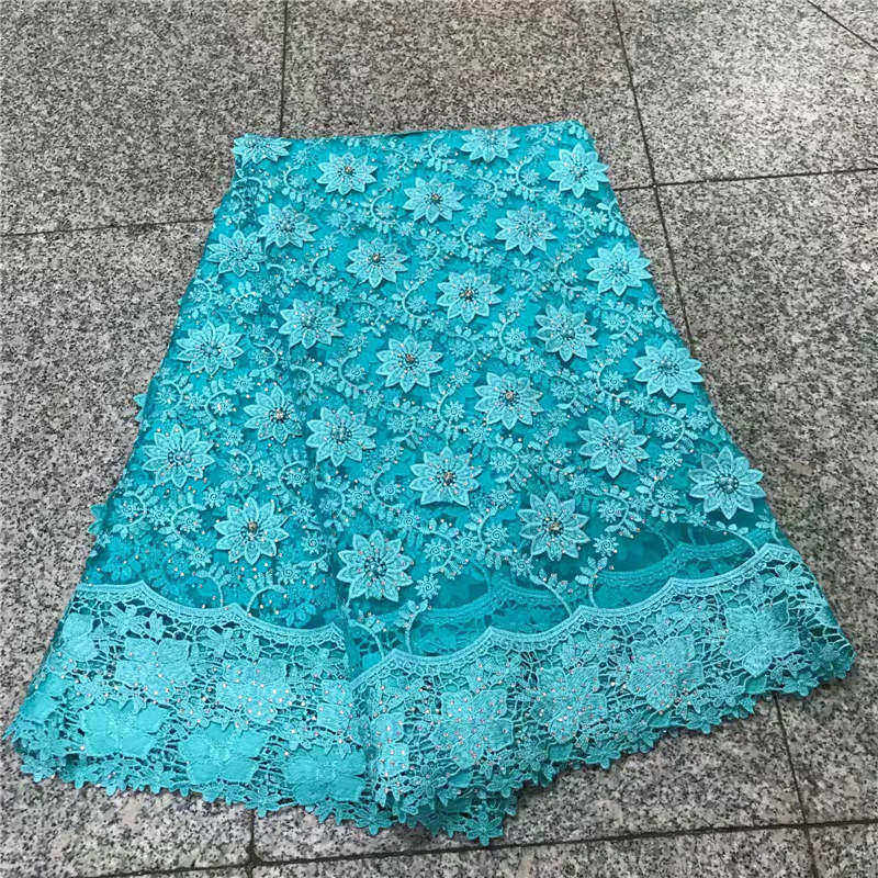 Latest French Lace Fabric 2018 Aqua Green African Lace Fabric Wedding Embroidery Tulle Lace Fabric for 5yards Nigerian Lace PGC1
