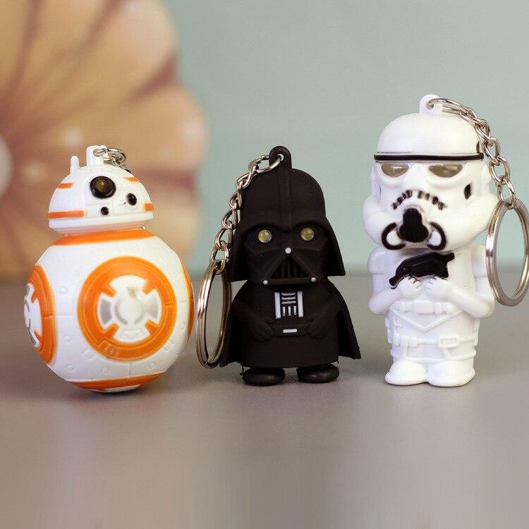1PCS New LED Flash Light Sound Starwars Keychain Darth Vader BB8 Key Chain Keyring Star Wars Marvel Characters Doll