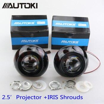 Envío Gratis, Kit de lentes de faros delanteros de coche con retroadaptación Mini de 2,5 pulgadas HID Bixenón + copos de Iris H1 H4 H7