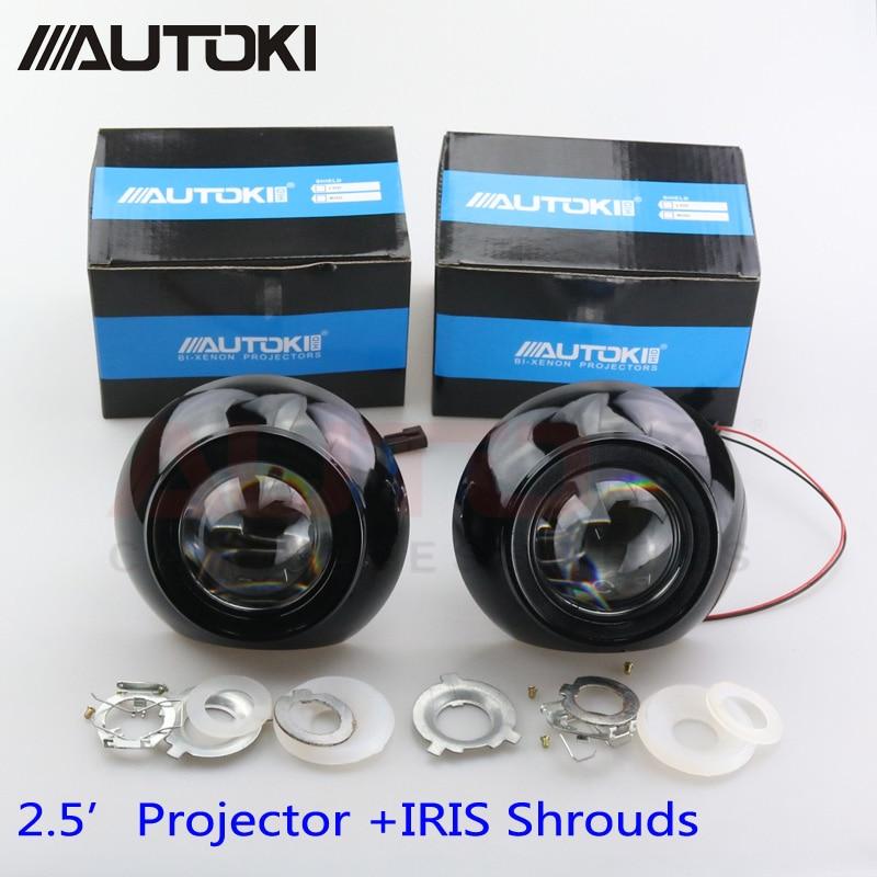 Livraison Gratuite Rénovation Mini 2.5 pouce HID Bixenon Projecteur Lentille de Phare Automobiles Projecteur Lentilles Kit + Iris Haubans H1 H4 H7