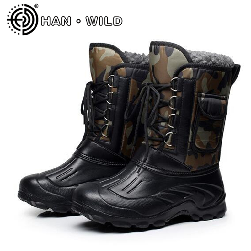 2018 Men Winter Snow Boots Platform Mid Calf Work Shoes Outdoor Waterproof Fishing Boots Men Skiing