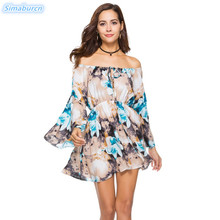 Summer Dress Women Spring Bohemian Dresses Slash neck Elastic Waist Floral Print Long Butterfly Sleeve Female Mini Thin Dresses цены