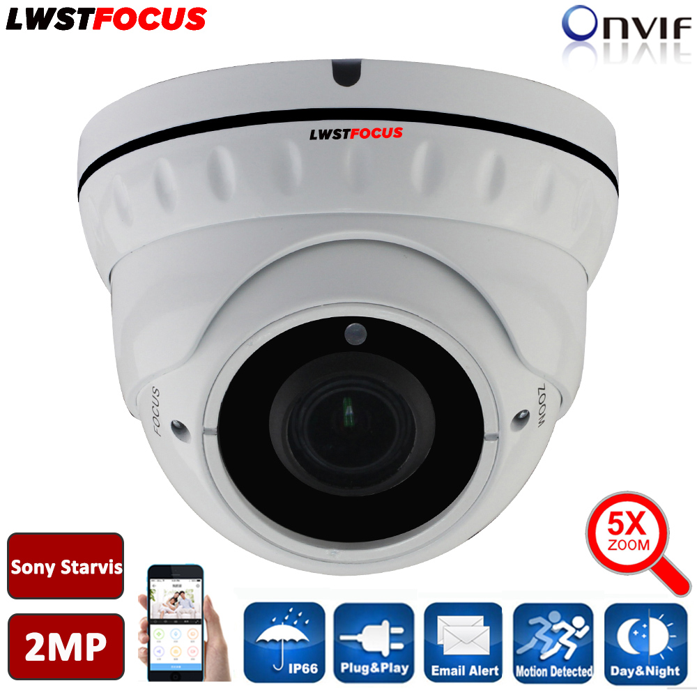 Full HD 1080P IP Camera POE SONY Starvis IMX290 5X Zoom Auto Focus Outdoor Dome Waterproof IP Camera IR Onvif Security Camera