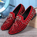 New Design Red Black Men Flats Rivets Studded Espadrilles Casual Flat Shoes Metal Decor Loafers Wedding Dress Shoes Creepers