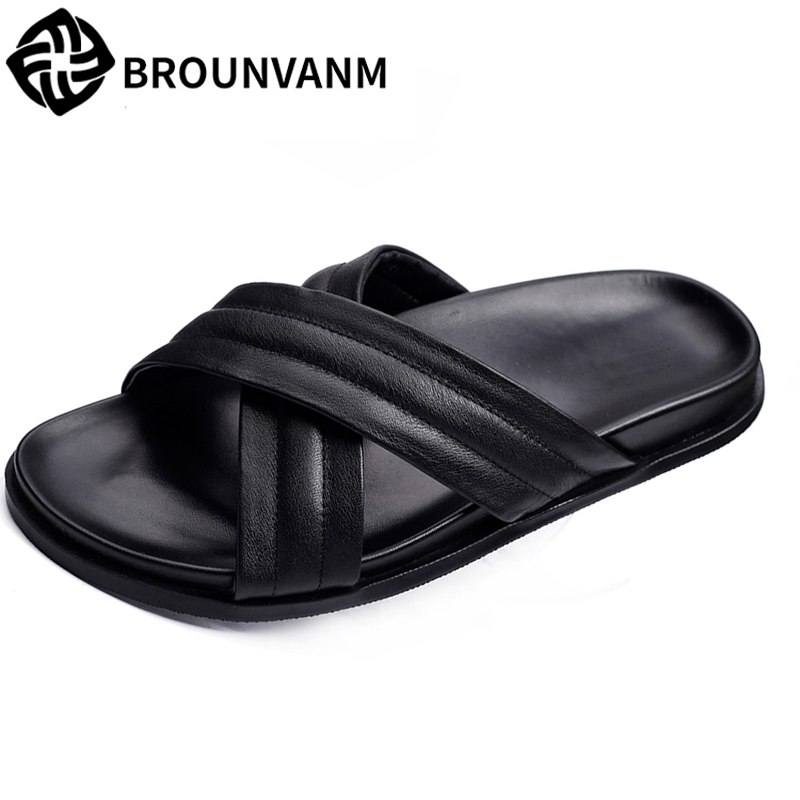 Genuine Leather slipper men summer sandals Sneakers male Slippers Flip Flops Summer Shoes fashion outdoors men