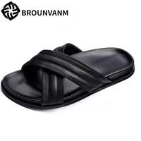 Genuine Leather slipper men summer sandals Sneakers male Slippers Flip Flops Summer Shoes fashion outdoors men's half slippers