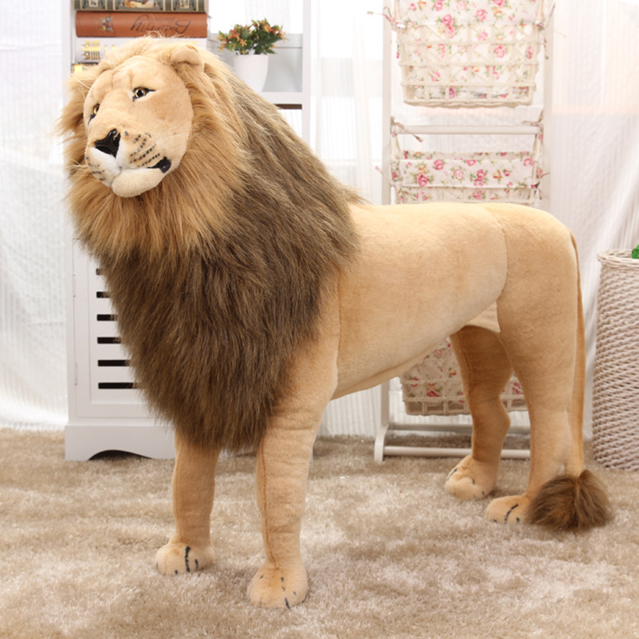 10cm African Lion Giant Large Plush Lion Toy Soft Stuffed Simulation Animals Realistic Toys Doll Children Doll Easter 50T0346 mr froger carcharodon megalodon model giant tooth shark sphyrna aquatic creatures wild animals zoo modeling plastic sea lift toy