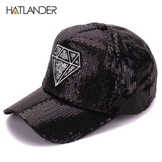 Hatlander Women summer diamond embroidery baseball cap shining sequins lady  hats adjustable black caps and hats for women e1bf2d403