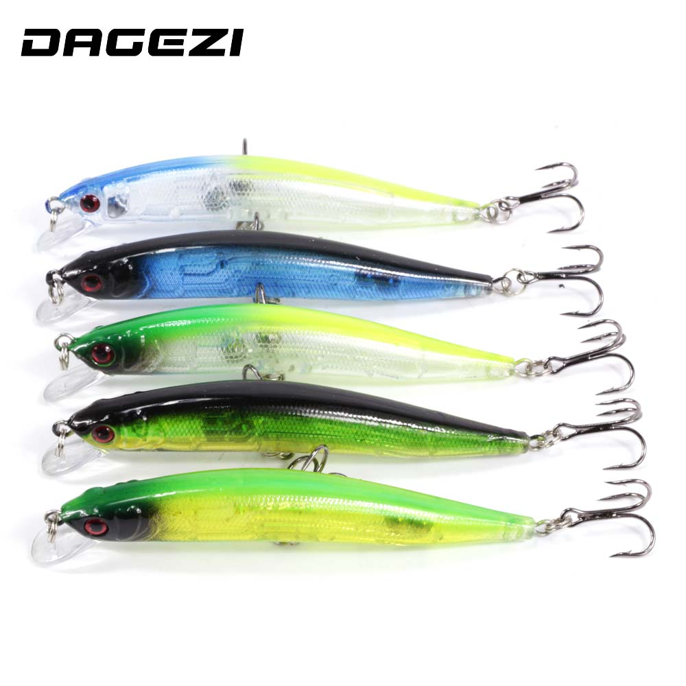 DAGEZI 5 pcs/lot clear color fishing lures fishing bait wobbler 9cm 9g minnow bass lure crankbait tackle Free shipping new 12pcs 7 5cm 5 6g fishing lure minnow hard bait sea fishing tackle crankbait fishing kit jig wobbler lures bait with hooks