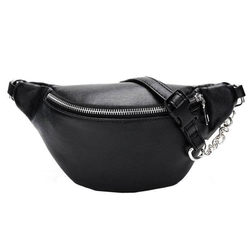 Fashion Chain PU Lychee Leather Chain Fanny Pack Waist Bag Casual Waterproof Antitheft Women Walking Shopping Band belt bags