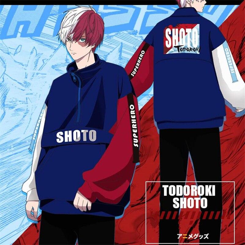 Anime My Hero Academia Todoroki Shouto Cosplay Costumes Women Men Cotton Pullover Splice Bat Sleeve Zipper Sweater Sweatshirts
