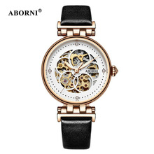ABORNI Vintage Women Mechanical Watches Roman Numerals Automatic Self-Wind Skeleton Lady Watch Leather Gold Luxury Diamond Clock