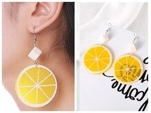 Japanese and Korean Harajuku Fruit Orange Lemon Pendant Earrings Female Sweet Temperament Wholesale Feather