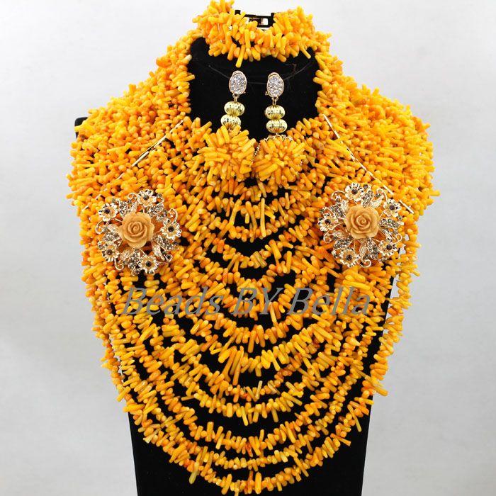 Здесь продается  Big Chunky Beads Orange Coral Nigerian Wedding Bridal Lace Jewelry Sets African Costume Statement Necklace Free Shipping ABK674  Ювелирные изделия и часы