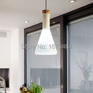 60W Contemporary Pendant Light with Glass Shade in Flask Design 110-240v