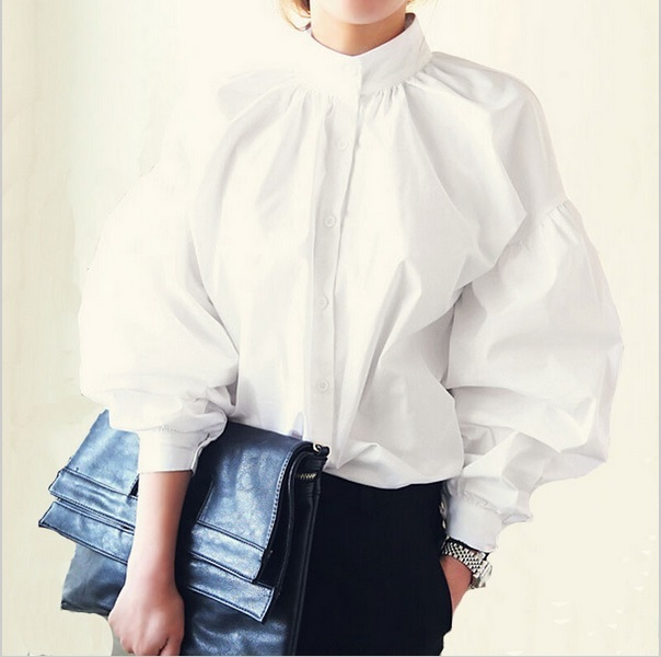 New korean style blouses lady women's high collar white long sleeve blouse cotton big size puff sleeve satin blouses