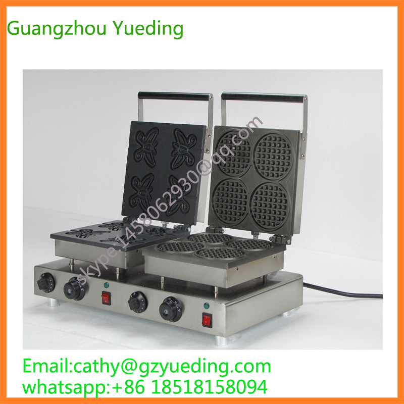 Free of choice plates commercial CE certification double plates waffle maker round waffle&butterfly shape waffle machine directly factory price commercial electric double head egg waffle maker for round waffle and rectangle waffle