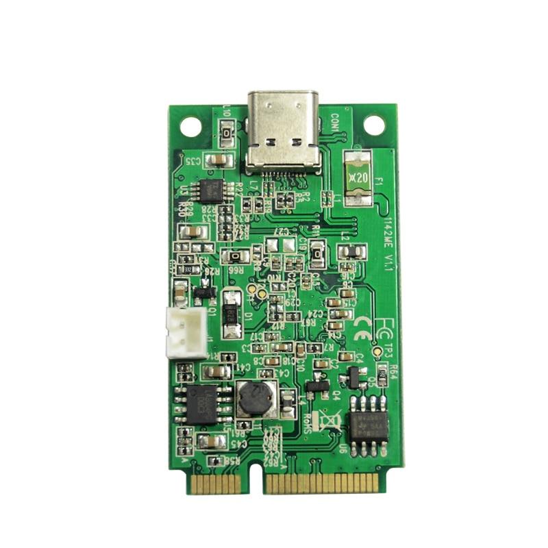 Penalidade de Energia Pcie para Usb Pci-express para 1 Mini Porta Tipo-c Host Controlador Cartão Adaptador 2pin Feltro Rosca Marvel 3.1 Usb3.1