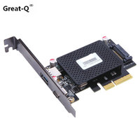 Great Q 10Gbps Super speed USB 3.1 Type C type A to PCI Express pci e Expansion card board adapter riser card with sata power